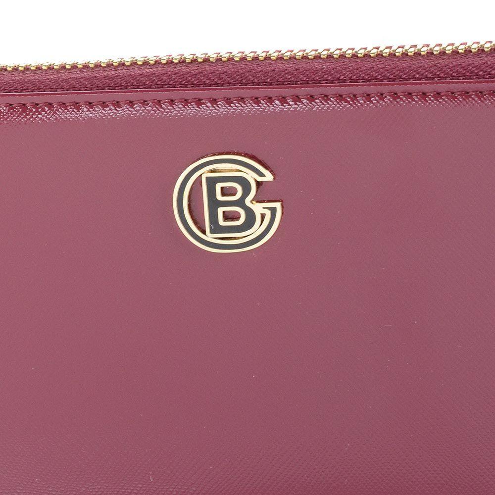 Женское пормоне на молнии Baldinini Bilbao кожаное глянцевое сливово-рубинового цвета