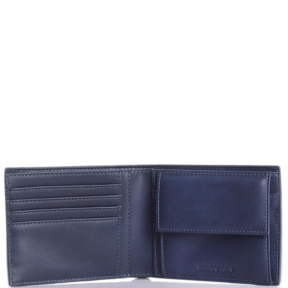 Синее портмоне Emporio Armani с брендовым тиснением