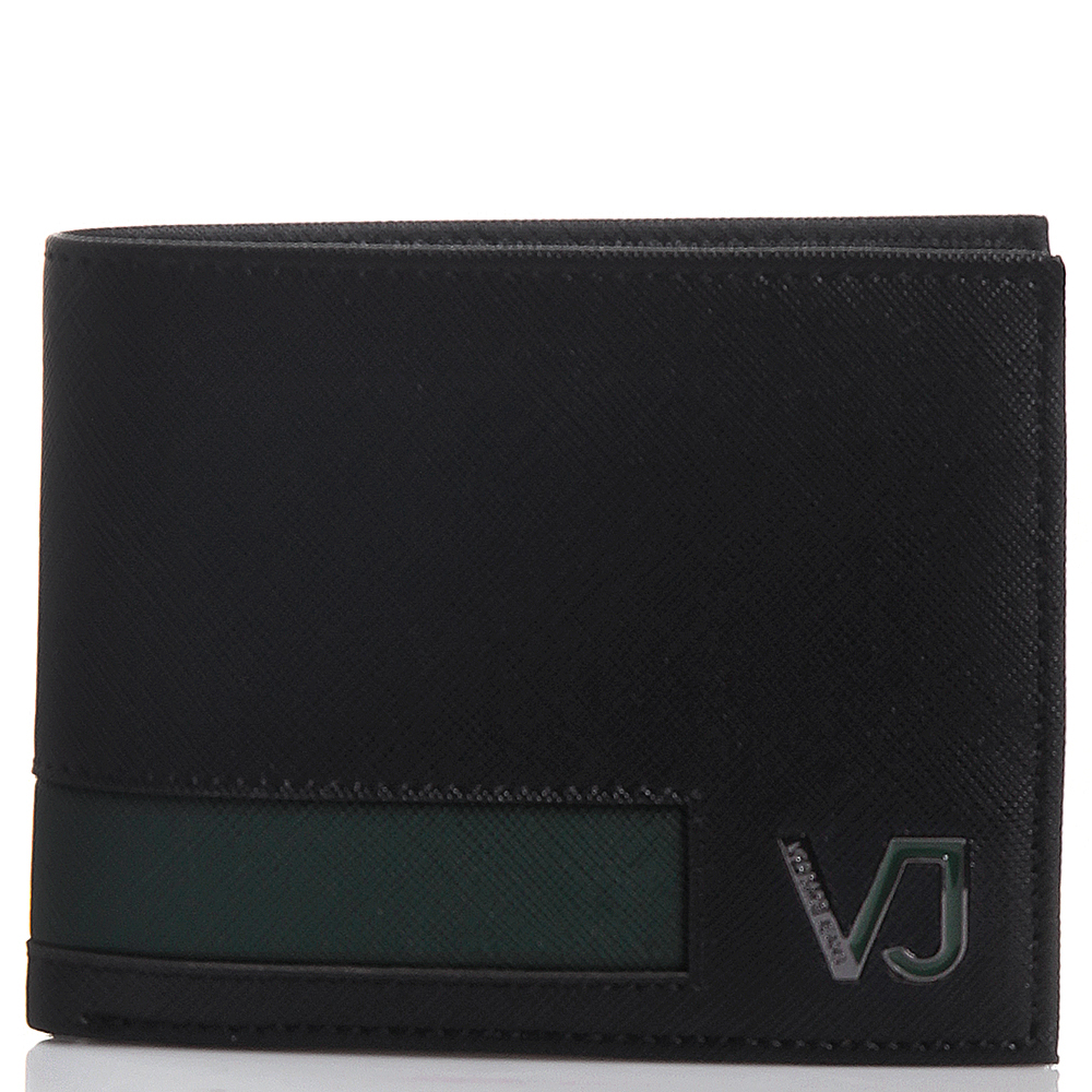 Портмоне черного цвета с зеленой вставкой Versace Jeans из кожи сафьяно