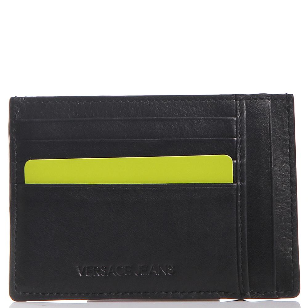 Кардхолдер Versace Jeans из гладкой кожи черного цвета