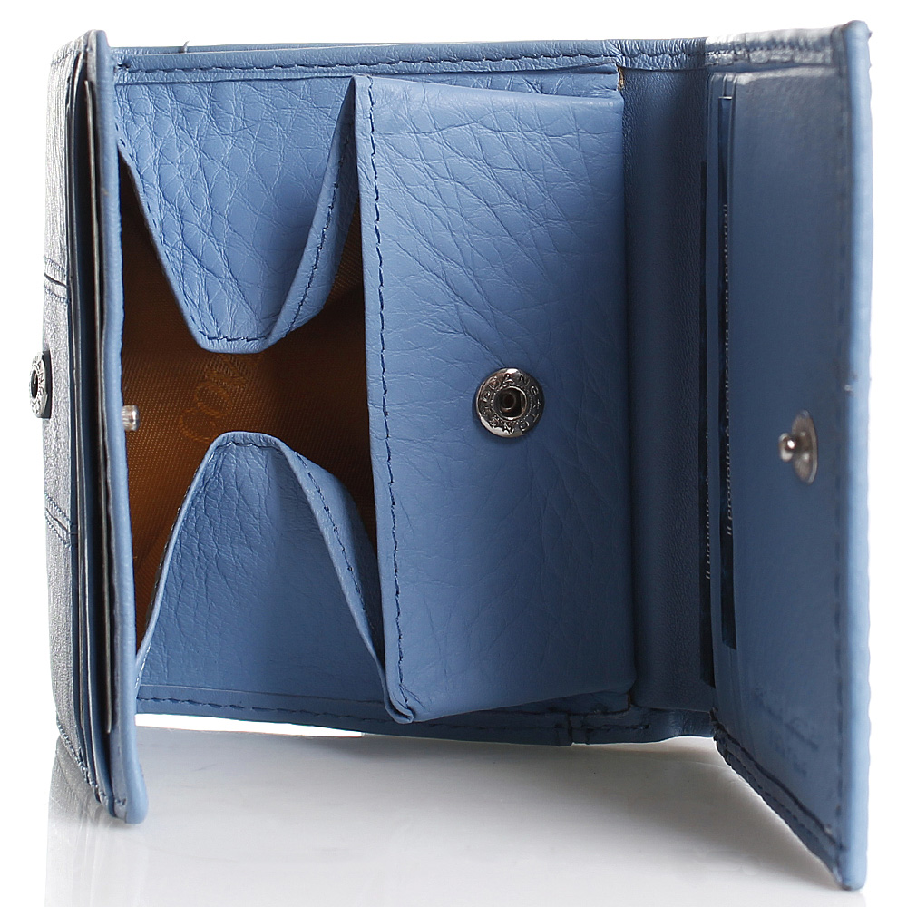 Портмоне на кнопке Coveri из кожи голубого цвета
