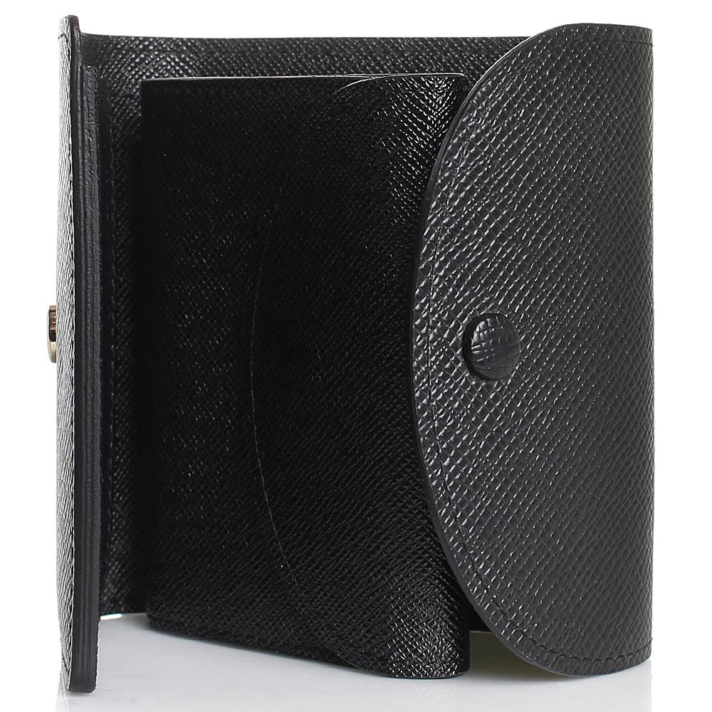 Кошелек на кнопке Coveri черного цвета с тиснением Сафьяно