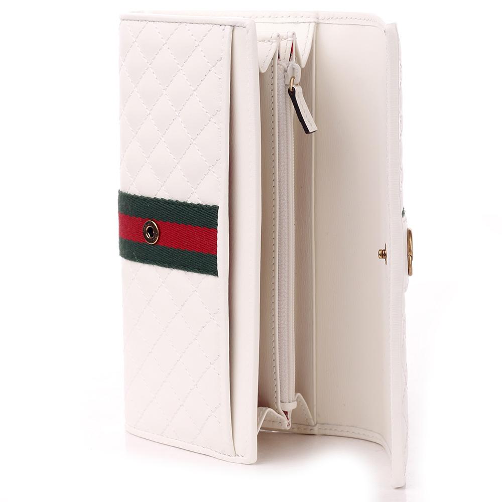Стеганый кошелек Gucci белого цвета