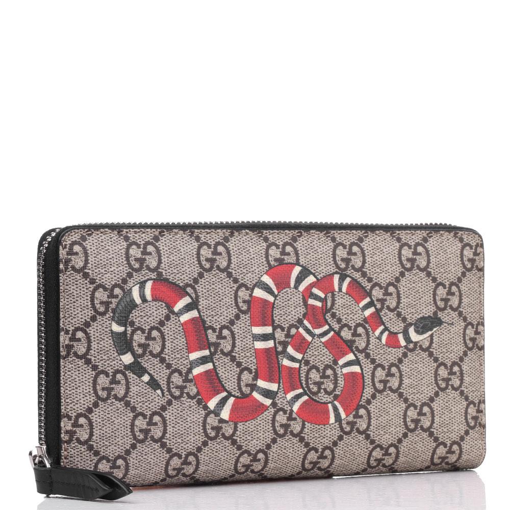 Коричневый кошелек Gucci с брендовым принтом