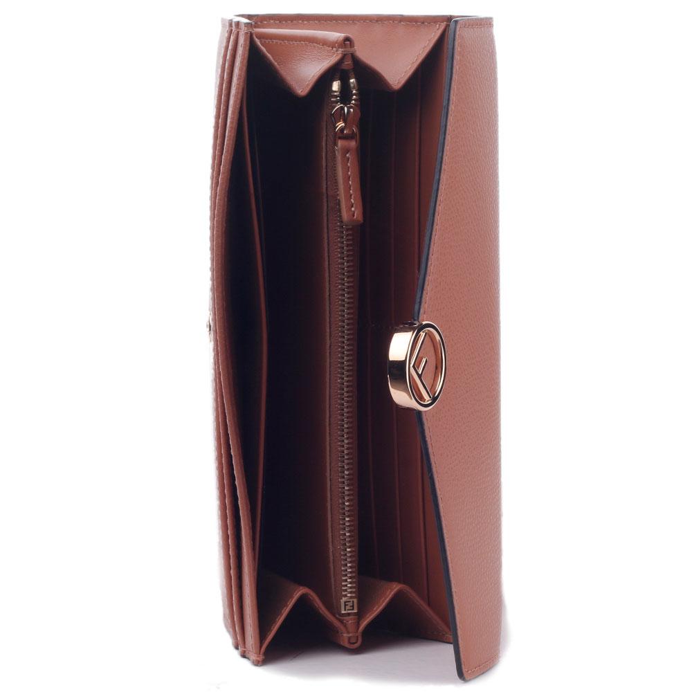 Кошелек Fendi коричневый на кнопке