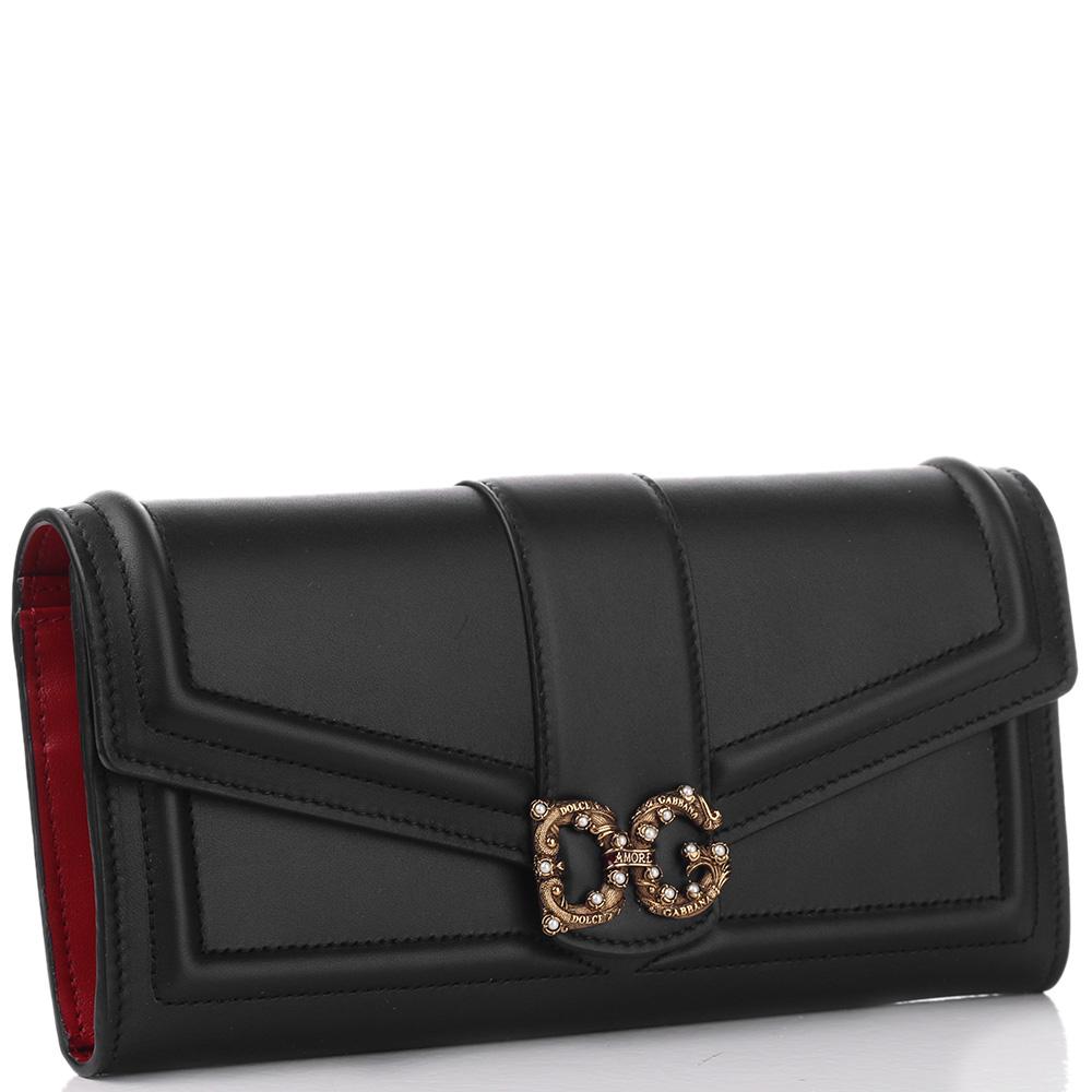 Черный кошелек Dolce&Gabbana DG Amore с красной подкладкой