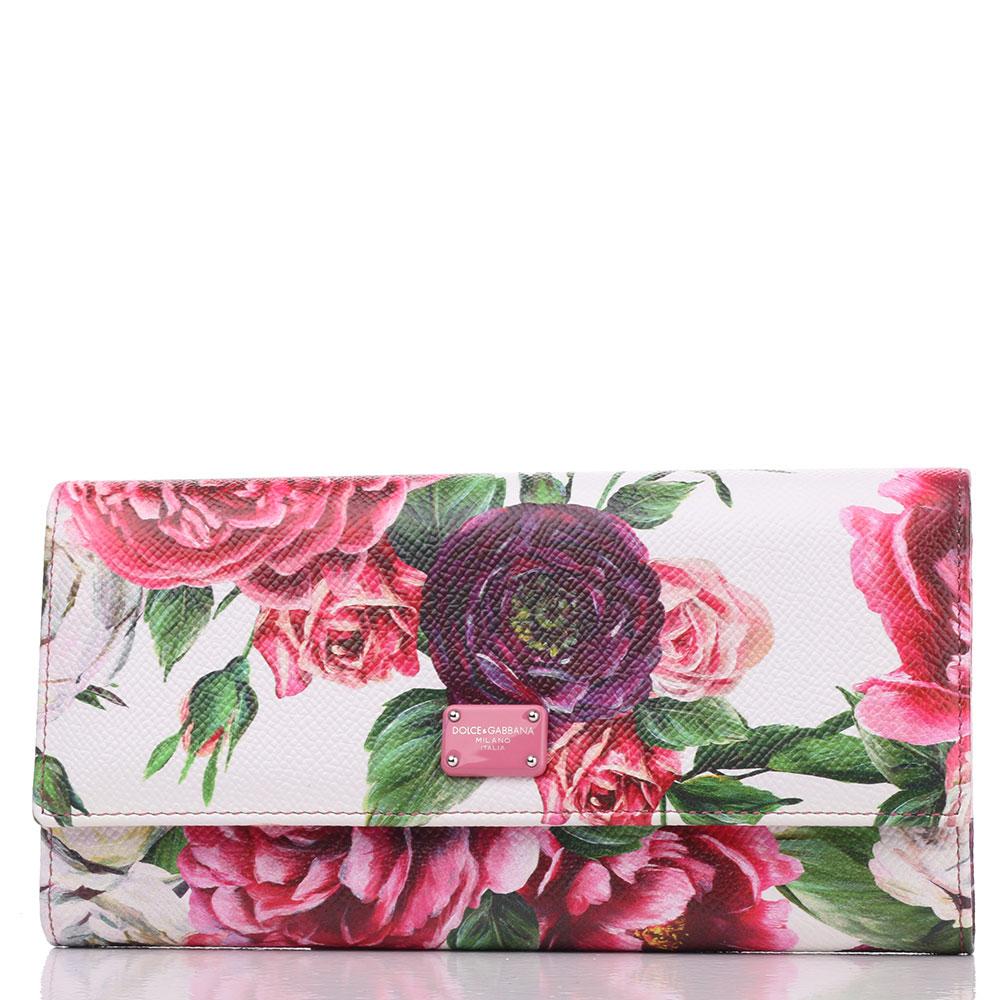 Кошелек из фактурной кожи Dolce&Gabbana с флористическим принтом