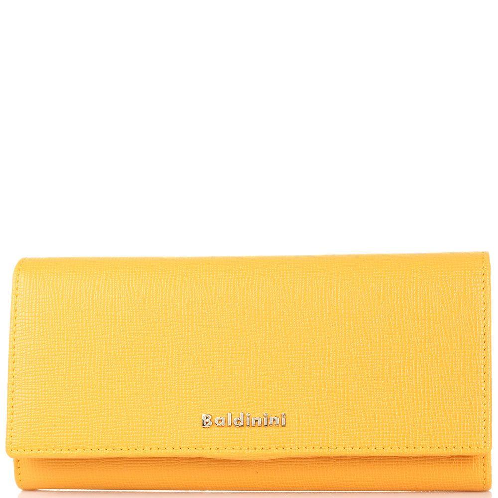 Портмоне из кожи Сафьяно Baldinini оранжевого цвета с клапаном