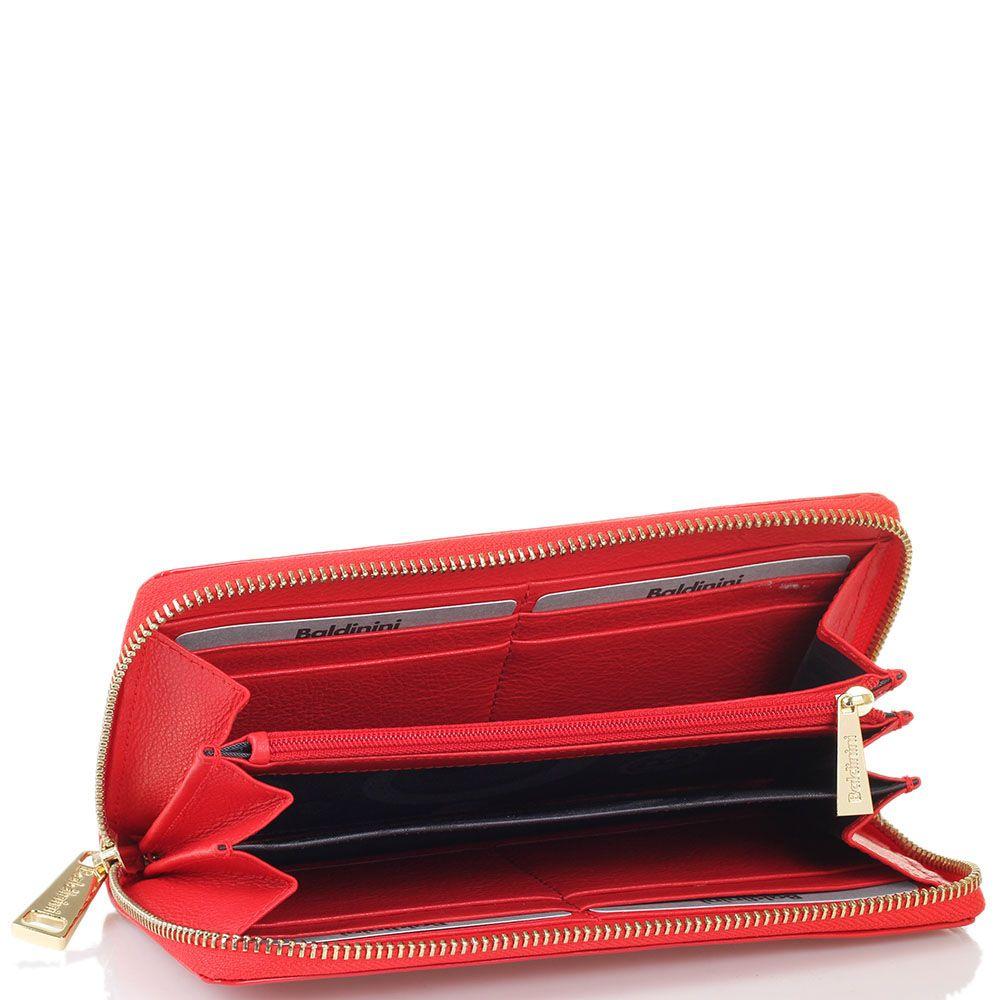 Кожаное портмоне на молнии Baldinini красного цвета