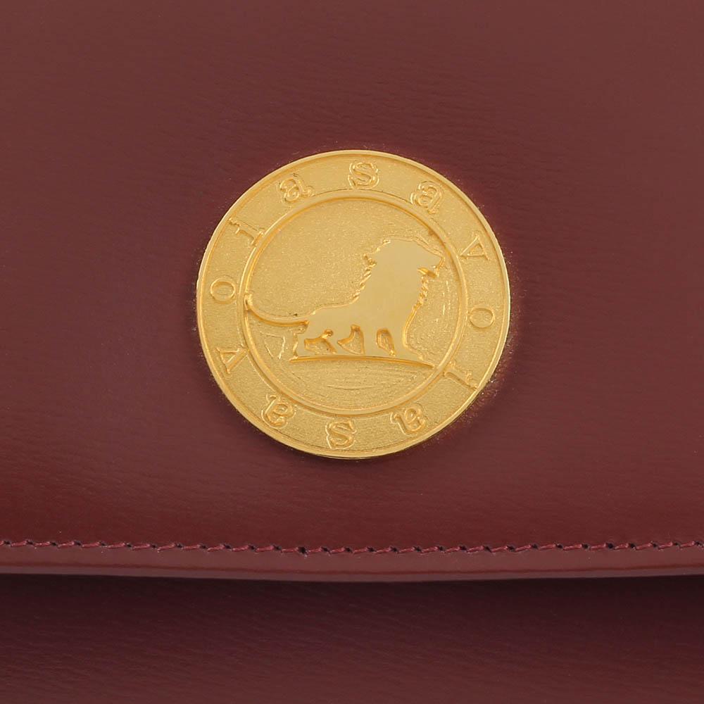Коричневое женское портмоне Savoia из кожи на кнопке