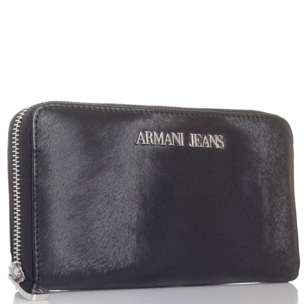 Кошелек Armani Jeans черного цвета на молнии
