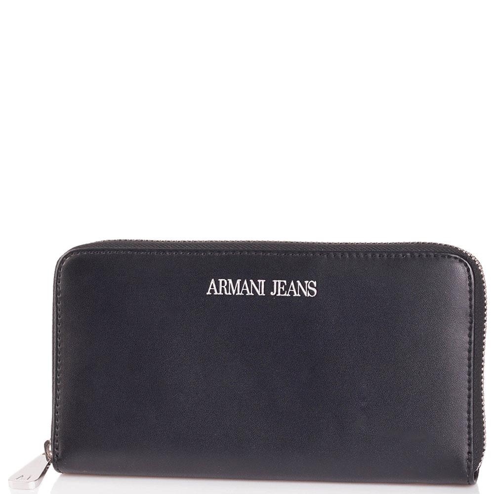 Черный кошелек Armani Jeans на молнии