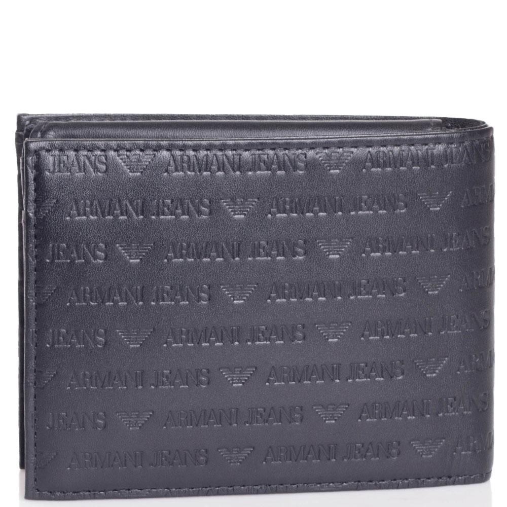 Портмоне черного цвета Armani Jeans с фирменным тиснением