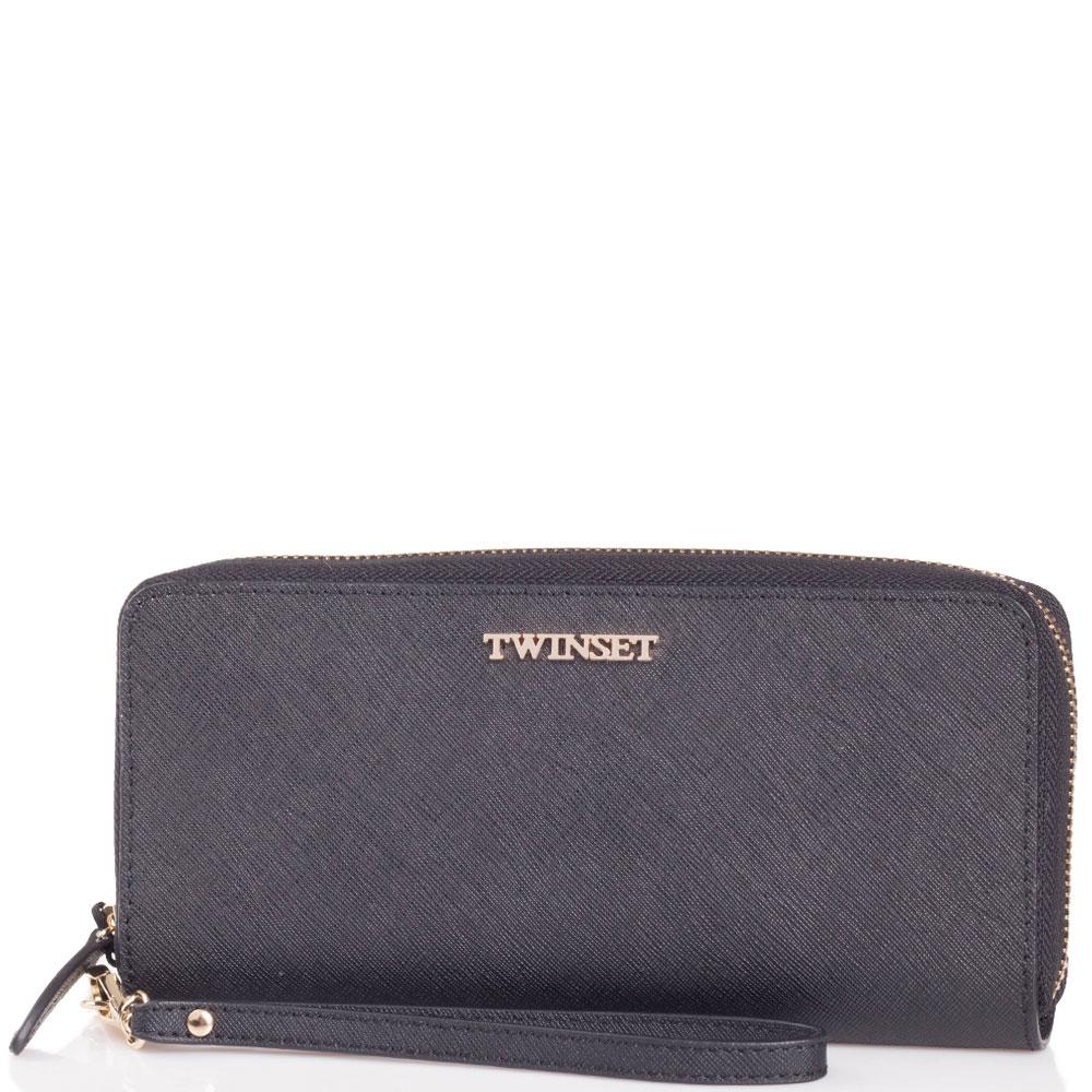 Черный кошелек Twin-Set Simona Barbieri с тиснением сафьяно