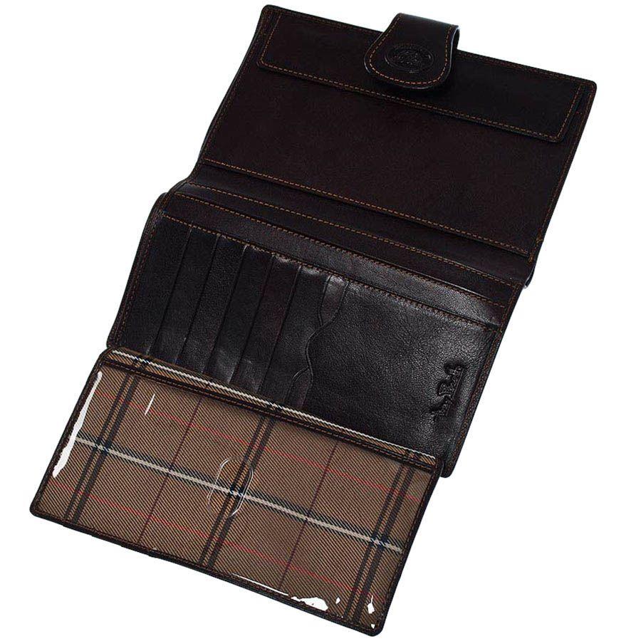 Вместительное вертикальное портмоне Tony Perotti Accademia из коричневой кожи на кнопке