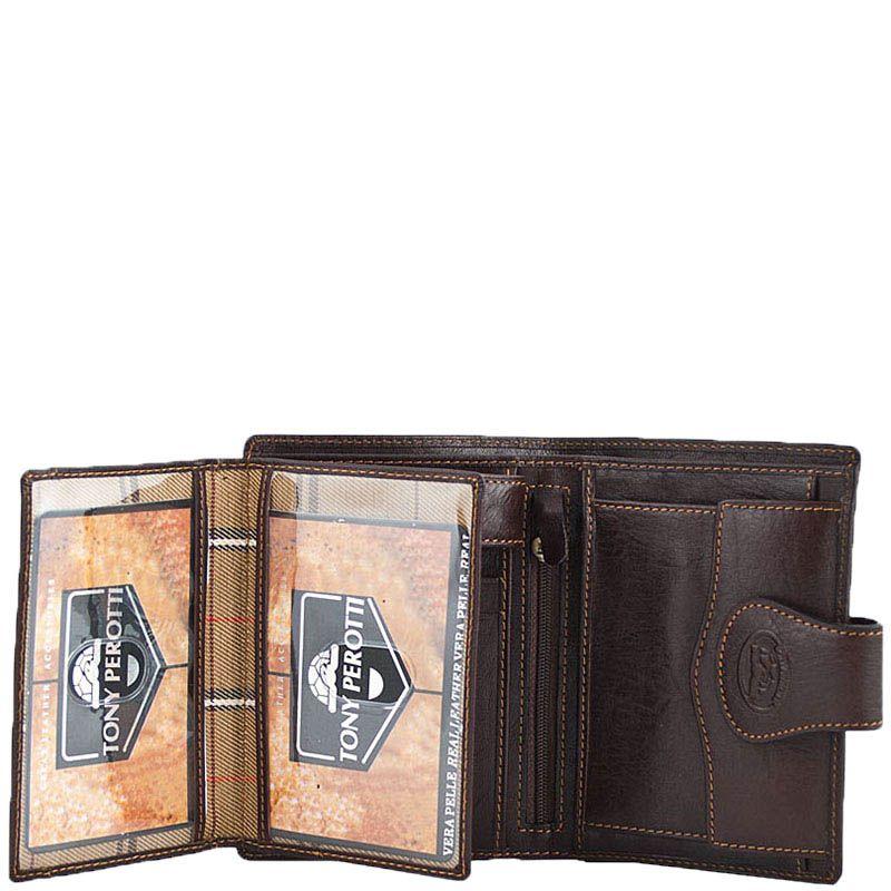 Вместительное небольшое портмоне Tony Perotti Accademia из коричневой кожи с откидным отделением