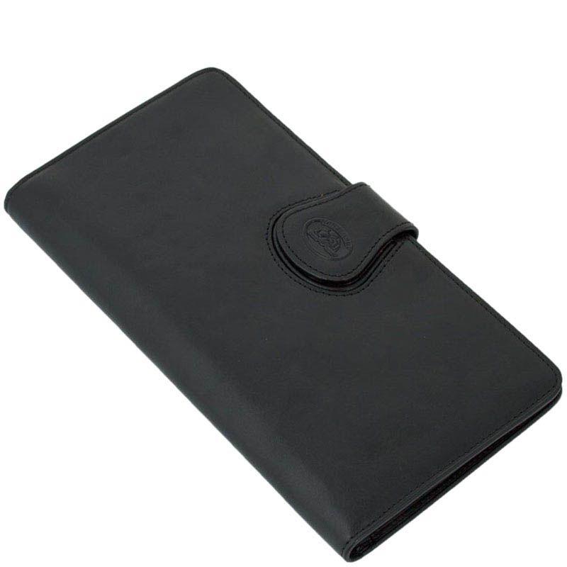 Тонкий вместительный портмоне-тревеллер Tony Perotti Accademia из натуральной черной кожи