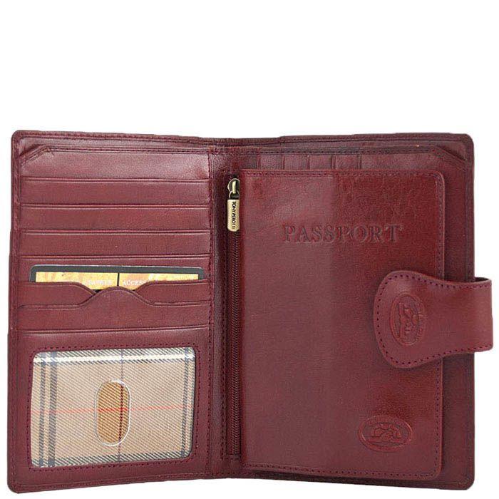 Красное портмоне Tony Perotti Accademia из кожи на застежке со съемной обложкой на паспорт