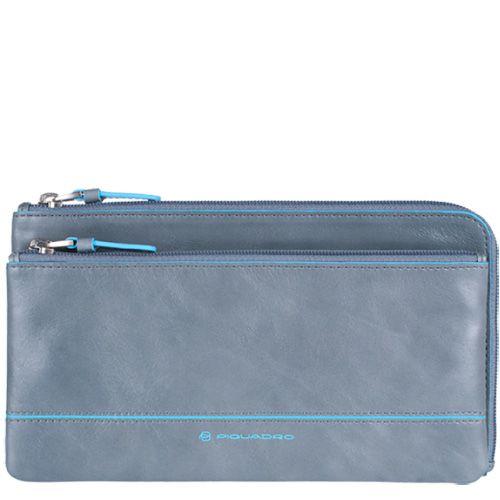 Мульти-портмоне Piquadro Blue square с 3 отделениями серо-голубое в стиле барсетки