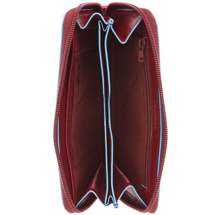 Бордовое портмоне Piquadro Blue Square со съемным кистевым ремнем