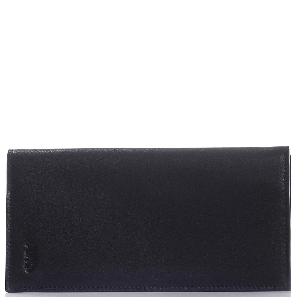 Портмоне черного цвета Amo Accessori Verona из гладкой кожи