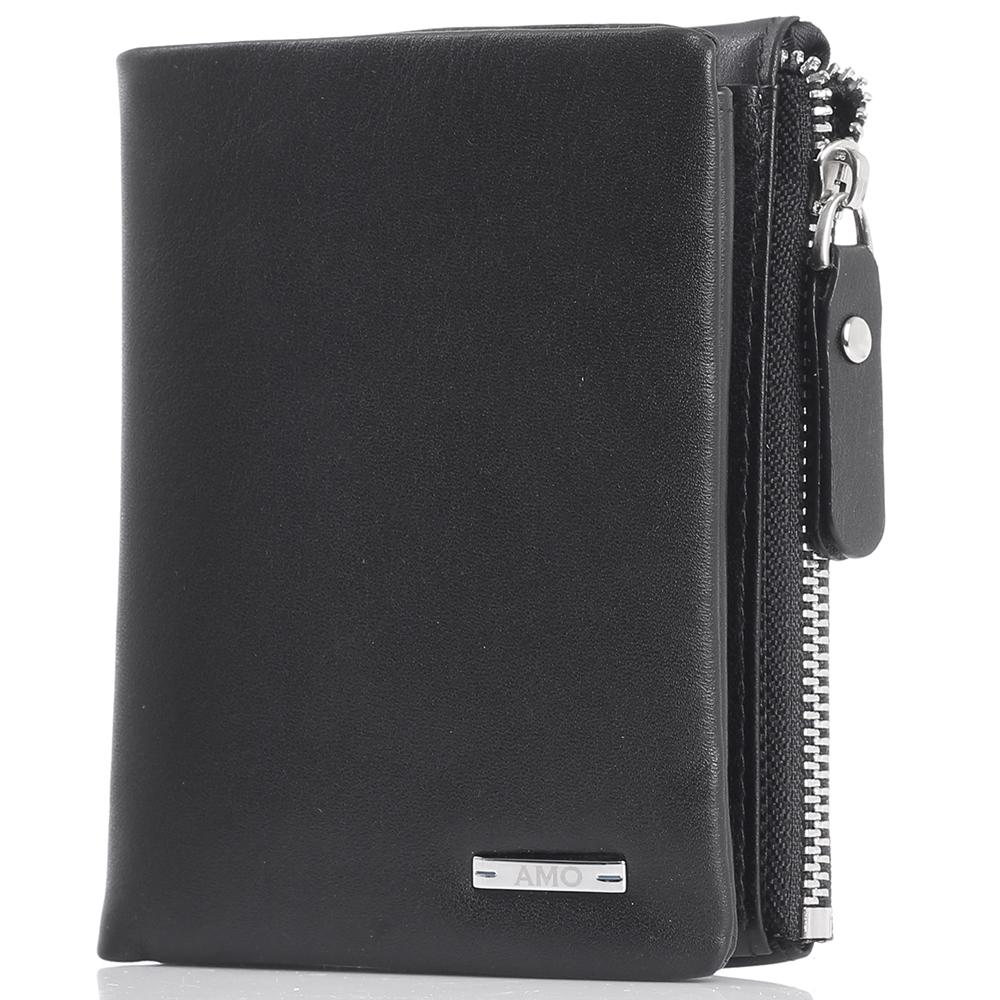 Портмоне вертикальное Amo Accessori черного цвета