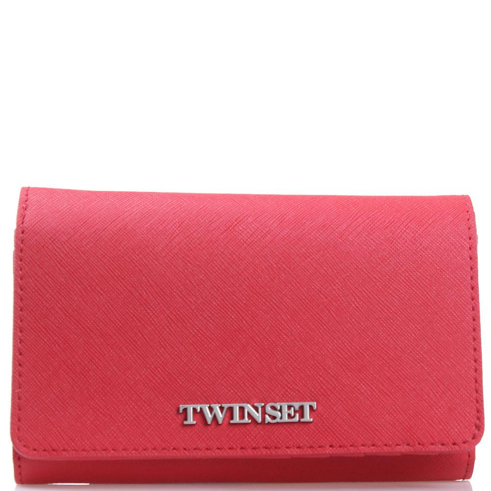 Красный кошелек Twin-Set из кожи с тиснением сафьяно