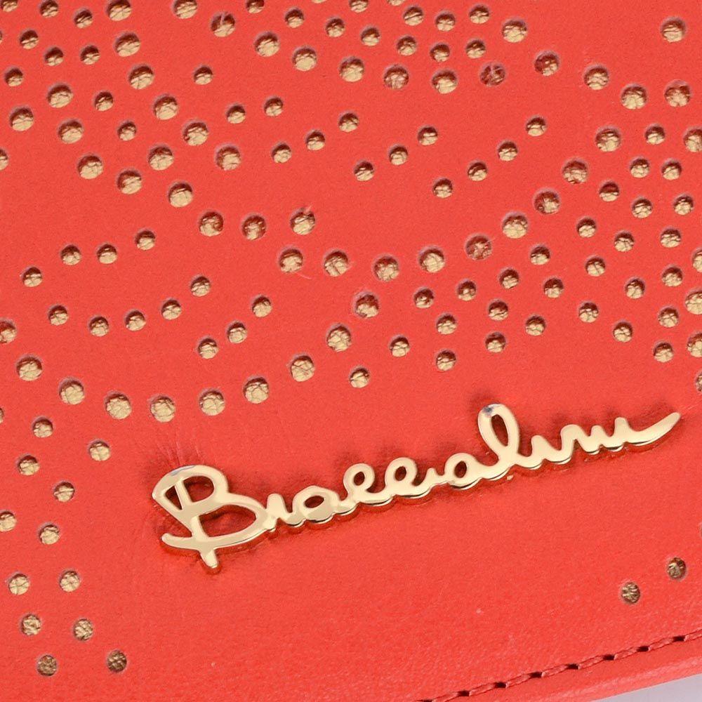 Портмоне Braccialini красного цвета с перфорацией в виде цветов