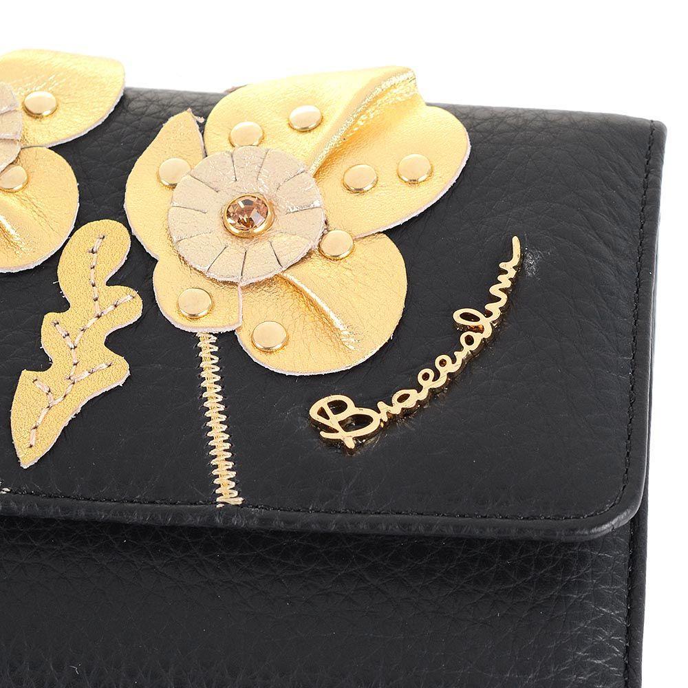 Портмоне Braccialini черного цвета с аппликацией в виде цветов из кожи золотистого цвета