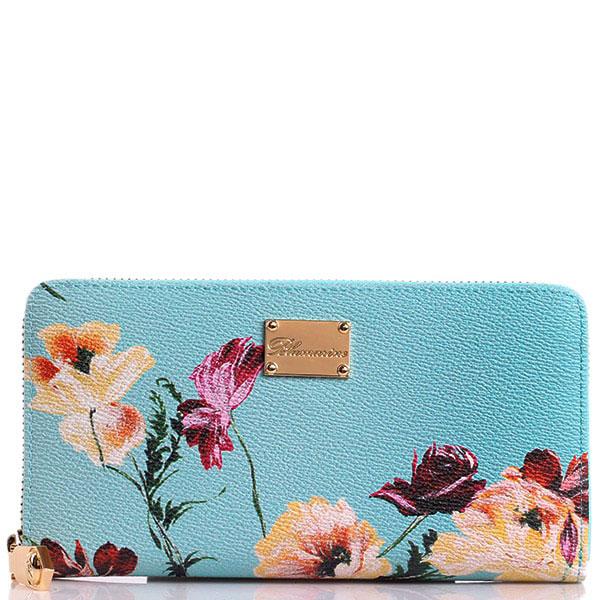 Женский кошелек Blumarine Anemone голубого цвета с цветочным принтом