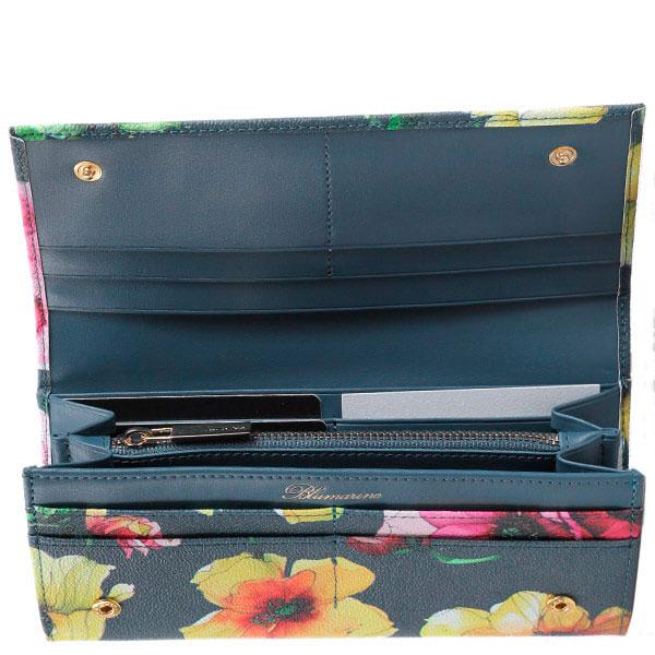 Женский кошелек Blumarine Anemone зеленого цвета с цветочным принтом