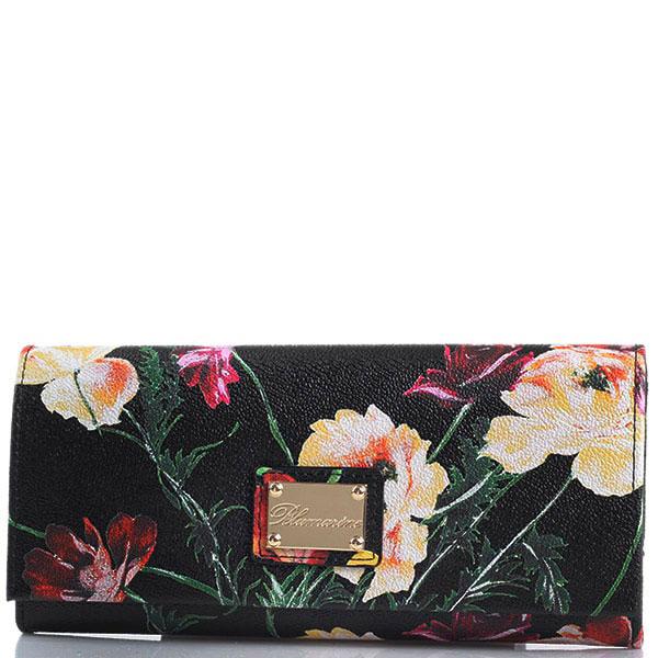 Женский кошелек Blumarine Anemone черного цвета с цветочным принтом