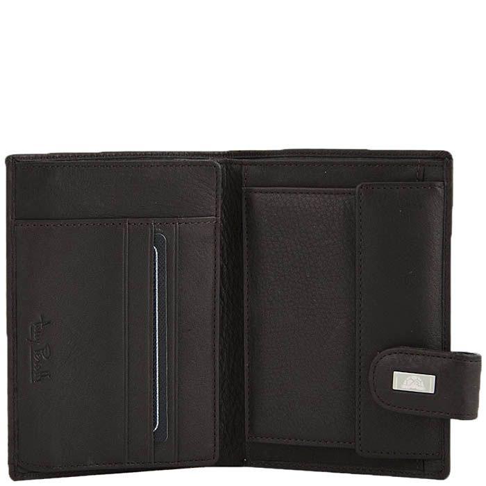 Коричневое вертикальное портмоне Tony Perotti Contatto с застежкой и шильдой