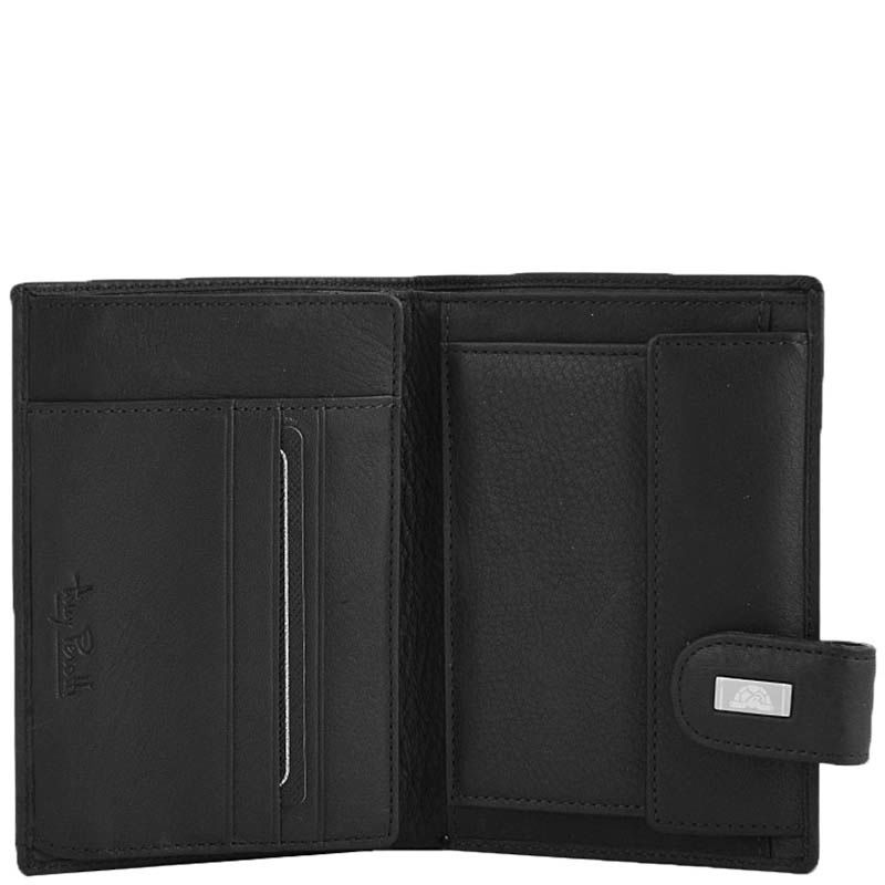 Вертикальное черное портмоне Tony Perotti Contatto на застежке с откидным отделением