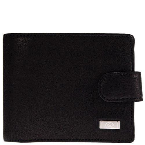 Классическое черное портмоне Tony Perotti Contatto из натуральной кожи на кнопке