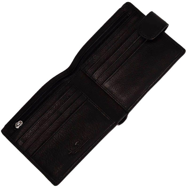 Классическое черное портмоне Tony Perotti Contatto из кожа на кнопке
