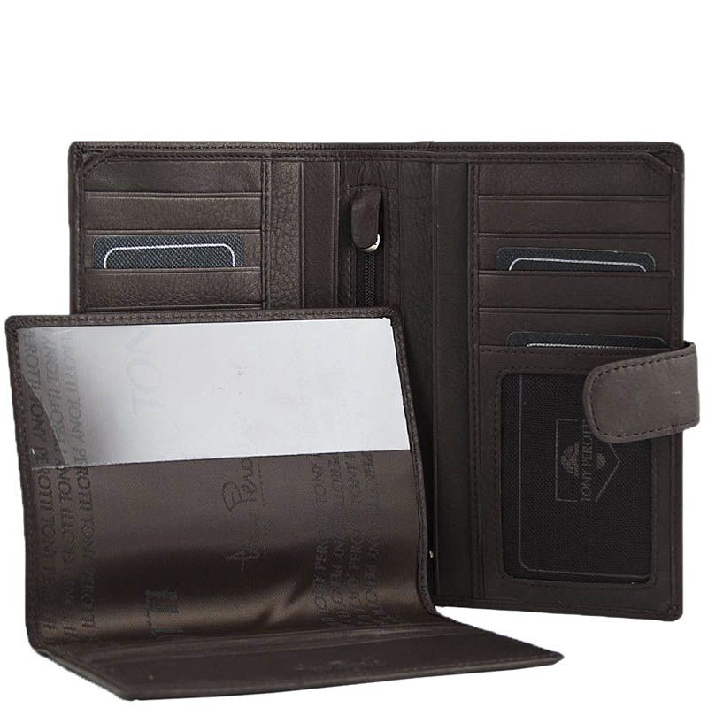 Большое вместительное портмоне Tony Perotti Contatto с множеством отделов и съемной обложкой на паспорт