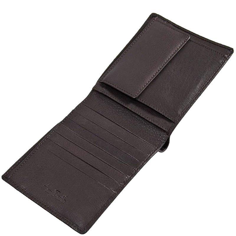 Коричневое горизонтальное портмоне Tony Perotti Contatto из зернистой кожи с шильдой