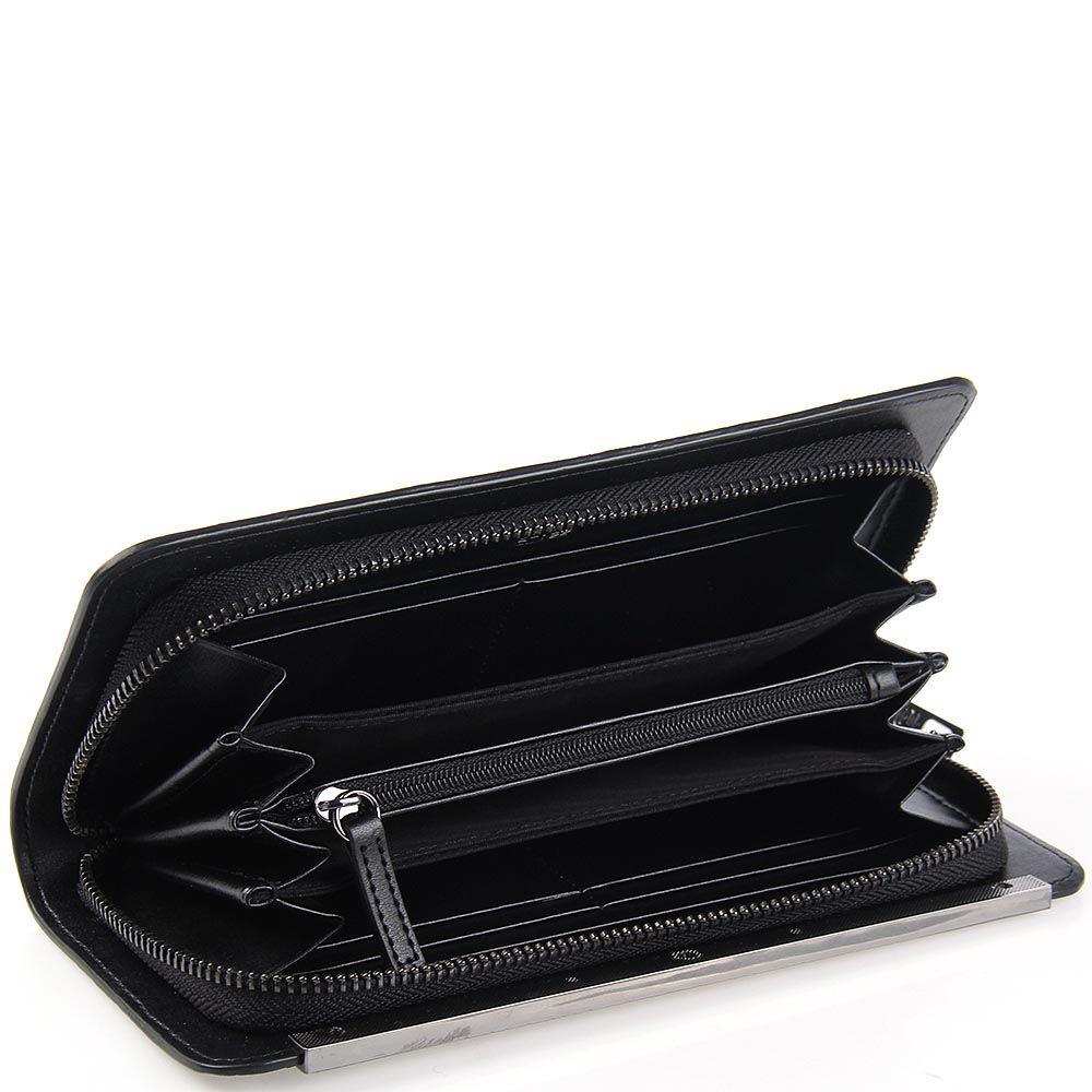 Женский кошелек Cavalli Class Julia на молнии кожаный лаковый черного цвета