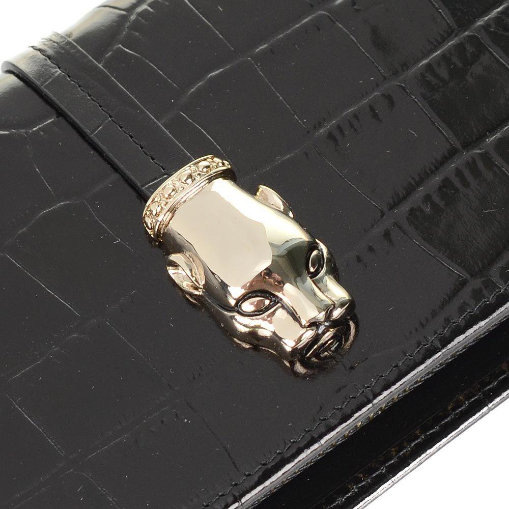 Портмоне женское Cavalli Class Daphne кожаное черное на молнии
