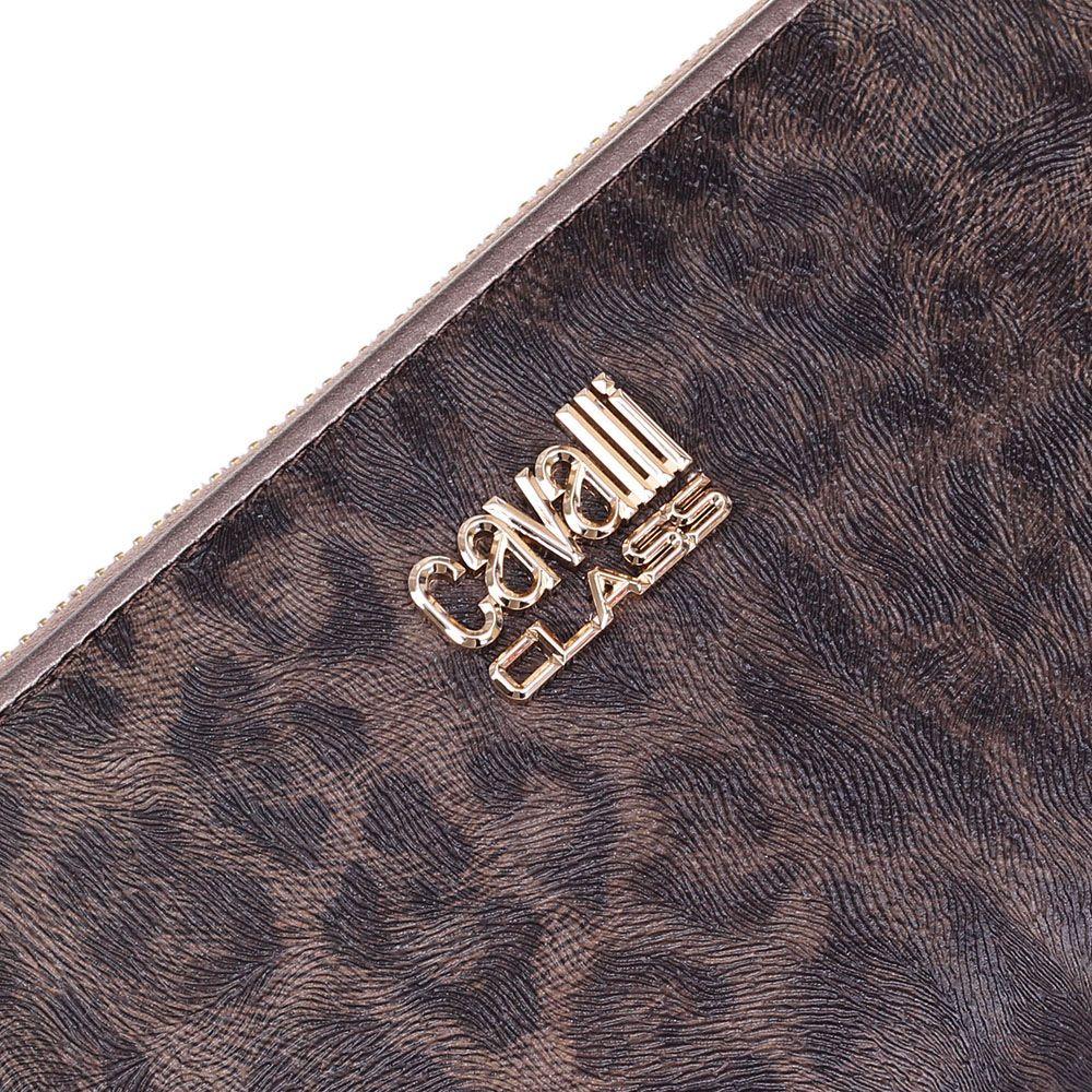 Портмоне женское Cavalli Class Tilda с леопардовым принтом и бронзовой окантовкой