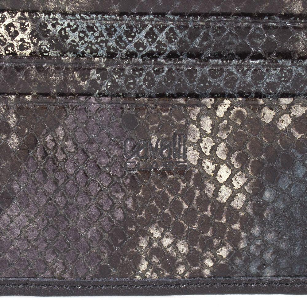 Портмоне Cavalli Class черного цвета из гладкой кожи с внутренней отделкой под кожу змеи зеленого цвета