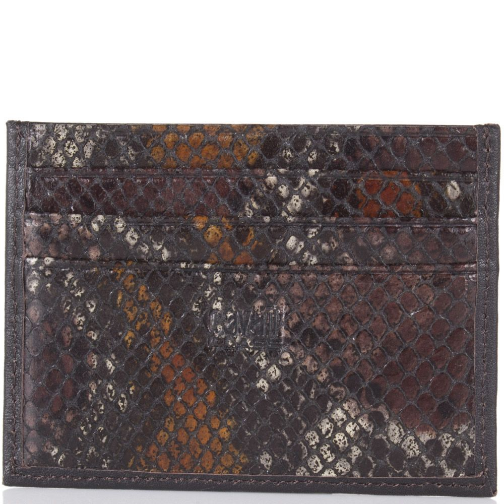 Кардхолдер Cavalli Class маленький коричневого отенка с фактурной кожей под змею