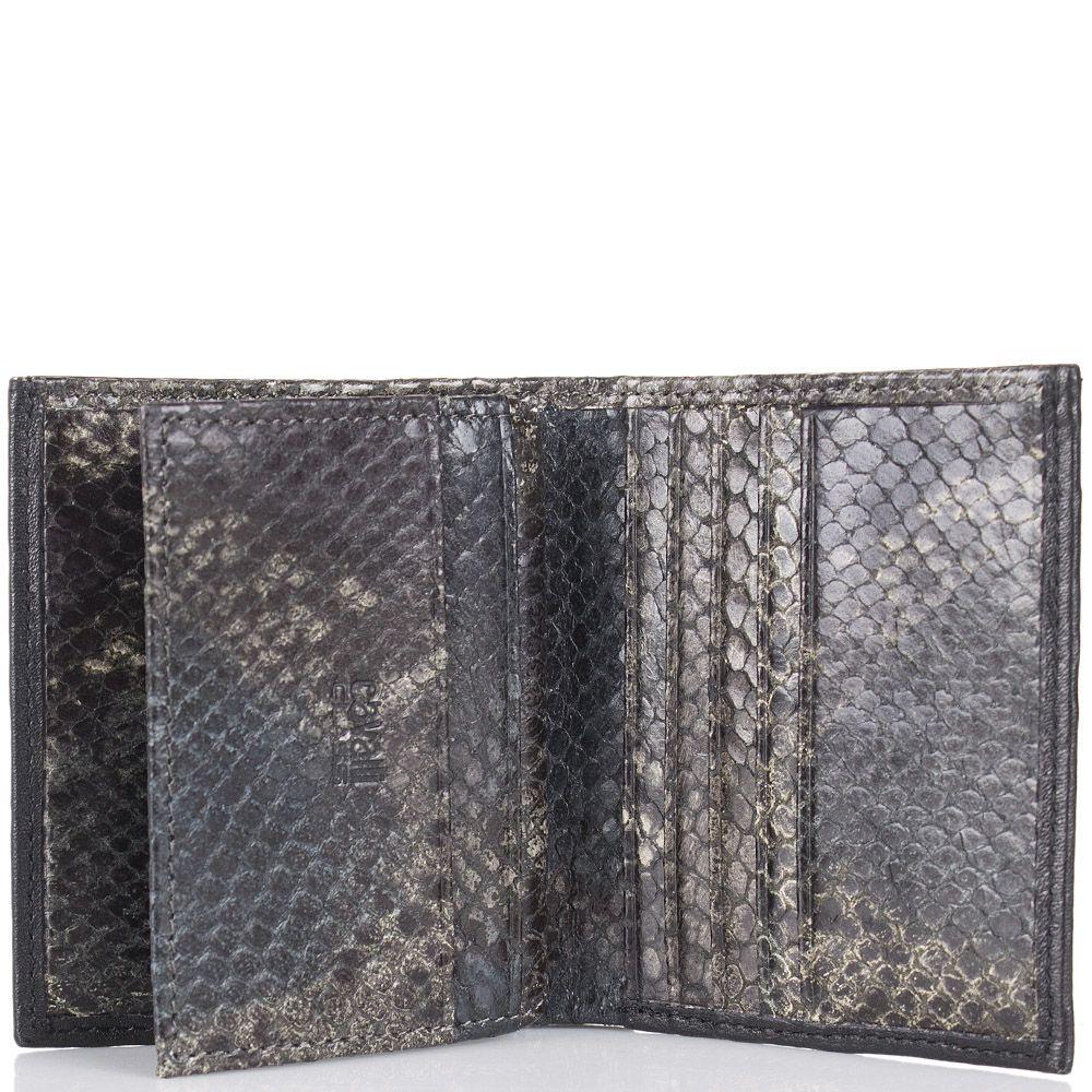 Портмоне Cavalli Class черного цвета маленькое с внутренней отделкой под кожу змеи зеленого цвета