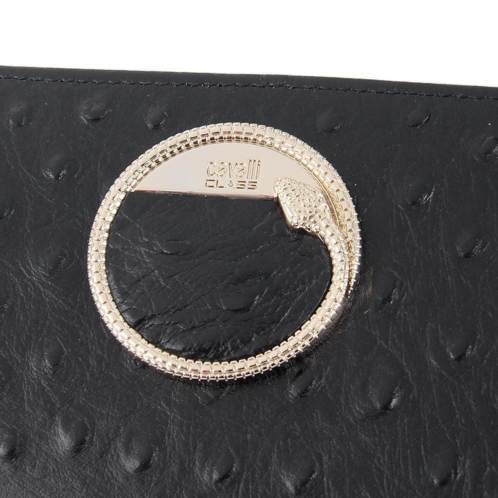 Женский кошелек Cavalli Class на молнии кожаный черный с логотипом в виде змеи