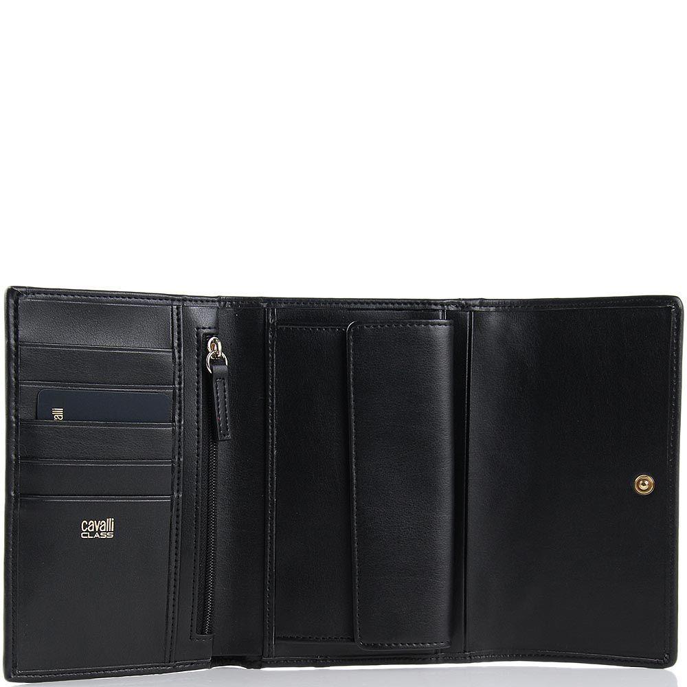 Портмоне женское Cavalli Class большое черного цвета с перфорацией на клапане