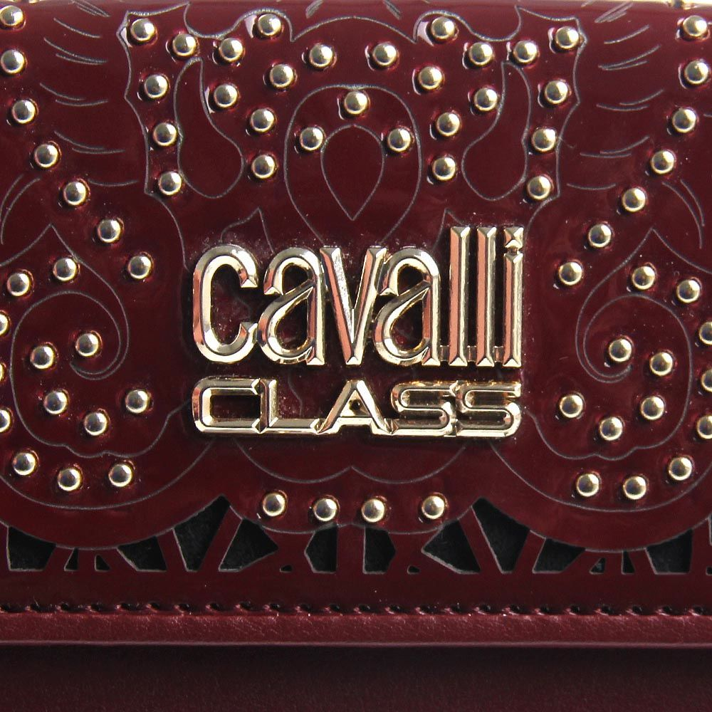 Портмоне женское Cavalli Class бордового цвета с перфорацией на клапане