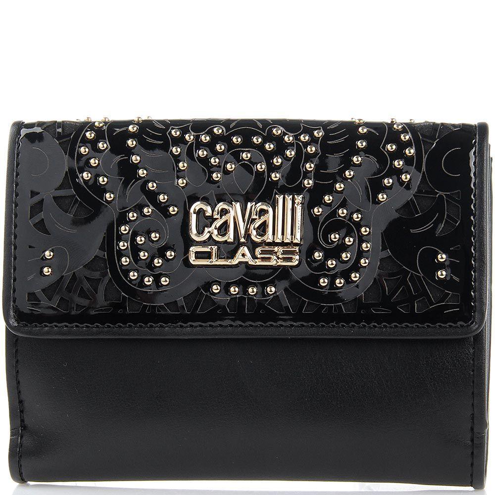 Портмоне женское Cavalli Class черного цвета с перфорацией на клапане