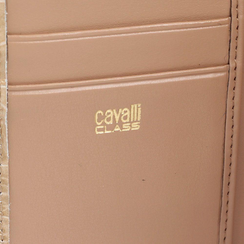 Портмоне женское Cavalli Class Daphne из кожи бежевого цвета с тиснением под крокодила