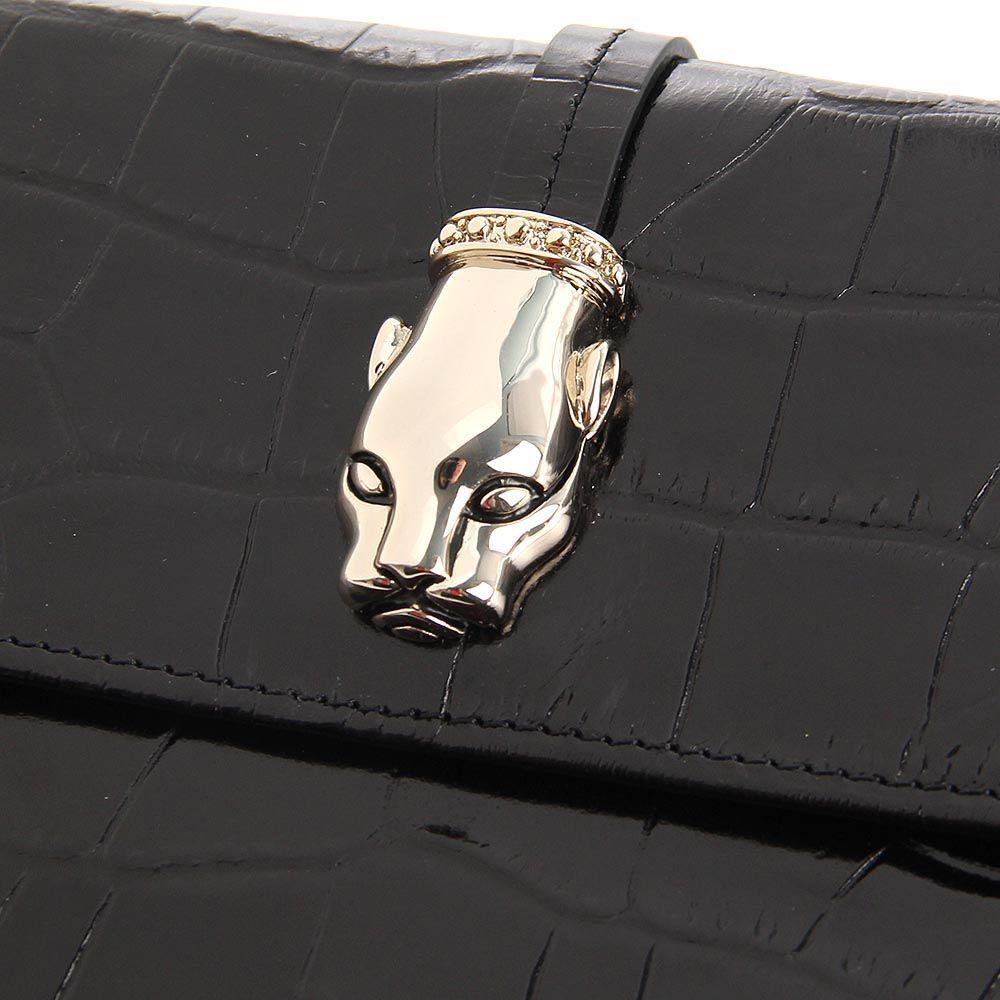 Портмоне женское Cavalli Class Daphne кожаное лаковое черного цвета
